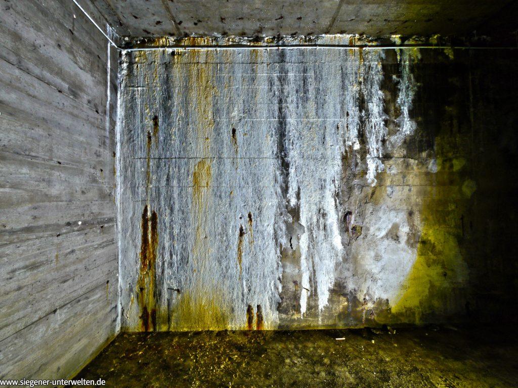 Die Baufuge zwischen neuem Zugang und vorhandener Bunkeranlage ist nicht ganz dicht und somit hat sich über die Jahrzehnte diese wunderschöne Struktur gebildet.